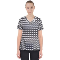 Heart Black Chain White Scrub Top