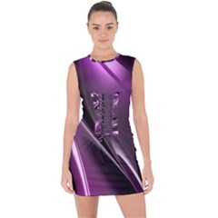 Fractal Mathematics Abstract Lace Up Front Bodycon Dress