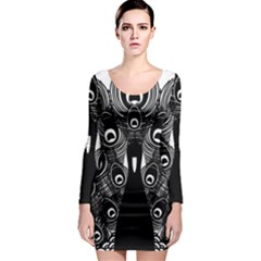 Peacock Bird Animal Feather Long Sleeve Bodycon Dress
