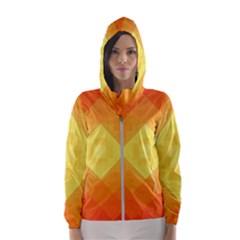 Pattern Retired Background Orange Hooded Wind Breaker (women)