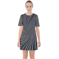 Abstract Art Color Design Lines Sixties Short Sleeve Mini Dress