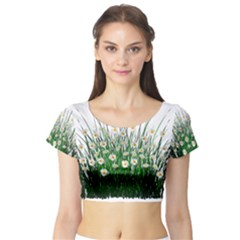 Spring Flowers Grass Meadow Plant Short Sleeve Crop Top