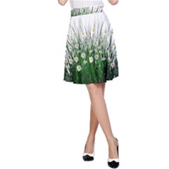 Spring Flowers Grass Meadow Plant A Line Skirt