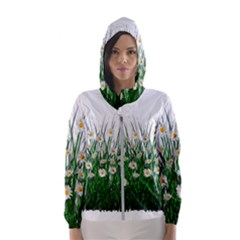 Spring Flowers Grass Meadow Plant Hooded Wind Breaker (women)