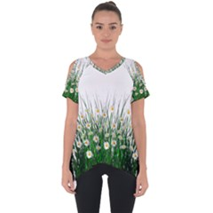 Spring Flowers Grass Meadow Plant Cut Out Side Drop Tee