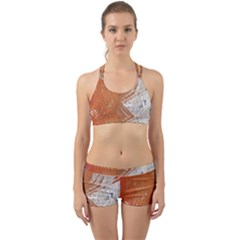 Abstract Lines Background Mess Back Web Sports Bra Set