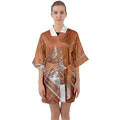 Abstract Lines Background Mess Quarter Sleeve Kimono Robe