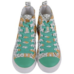 Stamping Pattern Fashion Background Women s Mid Top Canvas Sneakers