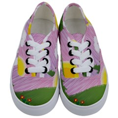 Pine Trees Sunrise Sunset Kids  Classic Low Top Sneakers