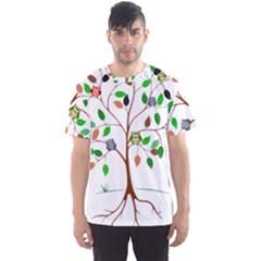 Tree Root Leaves Owls Green Brown Men s Sports Mesh Tee