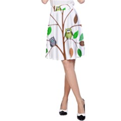 Tree Root Leaves Owls Green Brown A Line Skirt