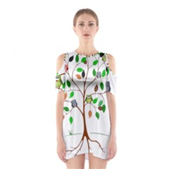 Tree Root Leaves Owls Green Brown Shoulder Cutout One Piece