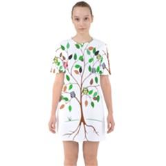 Tree Root Leaves Owls Green Brown Sixties Short Sleeve Mini Dress
