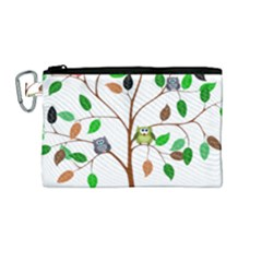 Tree Root Leaves Owls Green Brown Canvas Cosmetic Bag (medium)