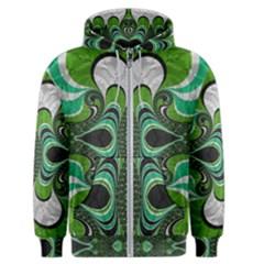 Fractal Art Green Pattern Design Men s Zipper Hoodie