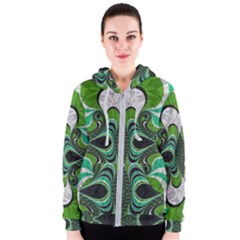 Fractal Art Green Pattern Design Women s Zipper Hoodie