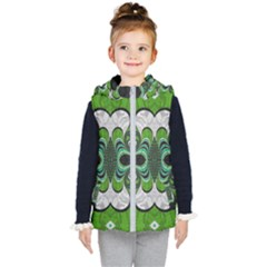 Fractal Art Green Pattern Design Kid s Puffer Vest
