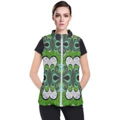 Fractal Art Green Pattern Design Women s Puffer Vest