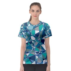 Abstract Background Blue Teal Women s Sport Mesh Tee