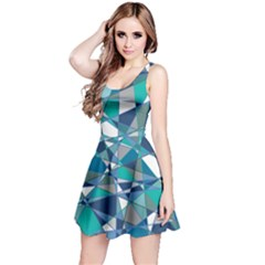 Abstract Background Blue Teal Reversible Sleeveless Dress