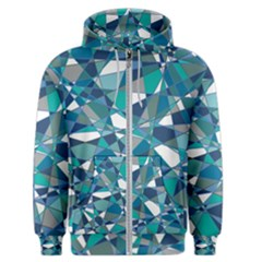 Abstract Background Blue Teal Men s Zipper Hoodie