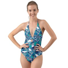 Abstract Background Blue Teal Halter Cut Out One Piece Swimsuit