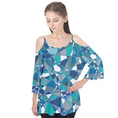 Abstract Background Blue Teal Flutter Tees