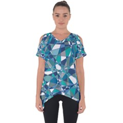 Abstract Background Blue Teal Cut Out Side Drop Tee