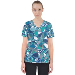 Abstract Background Blue Teal Scrub Top