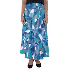 Abstract Background Blue Teal Flared Maxi Skirt