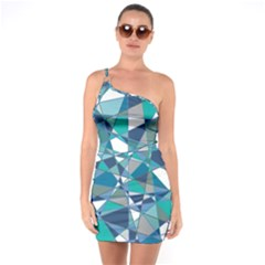 Abstract Background Blue Teal One Soulder Bodycon Dress