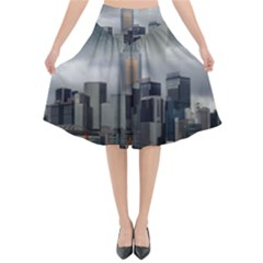 Tornado Storm Lightning Skyline Flared Midi Skirt