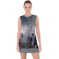 Tornado Storm Lightning Skyline Lace Up Front Bodycon Dress