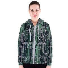 Printed Circuit Board Circuits Women s Zipper Hoodie