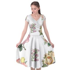 Rose Flowers Campanula Bellflower Cap Sleeve Wrap Front Dress