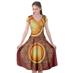 Badge Gilding Sun Red Oriental Cap Sleeve Wrap Front Dress