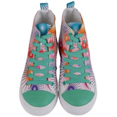 Stars Fireworks Colors Women s Mid Top Canvas Sneakers