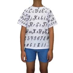 Font Lettering Alphabet Writing Kids  Short Sleeve Swimwear