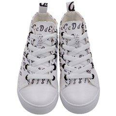 Font Lettering Alphabet Writing Kid s Mid Top Canvas Sneakers