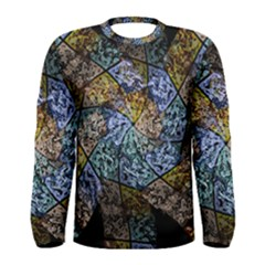 Multi Color Tile Twirl Octagon Men s Long Sleeve Tee