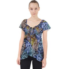Multi Color Tile Twirl Octagon Lace Front Dolly Top