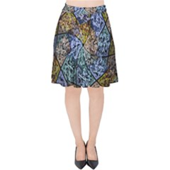 Multi Color Tile Twirl Octagon Velvet High Waist Skirt