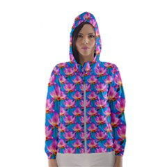 Seamless Flower Pattern Colorful Hooded Wind Breaker (women)