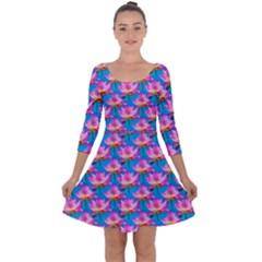 Seamless Flower Pattern Colorful Quarter Sleeve Skater Dress