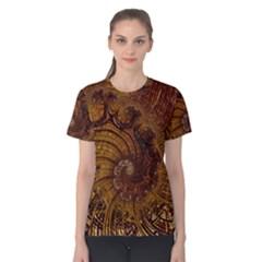 Copper Caramel Swirls Abstract Art Women s Cotton Tee