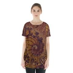 Copper Caramel Swirls Abstract Art Skirt Hem Sports Top