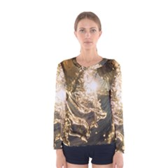 Gold Sea Coast Waves Depier Women s Long Sleeve Tee