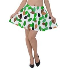 Leaves True Leaves Autumn Green Velvet Skater Skirt