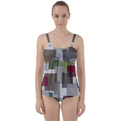 Decor Painting Design Texture Twist Front Tankini Set