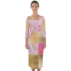 Collage Gold And Pink Quarter Sleeve Midi Bodycon Dress